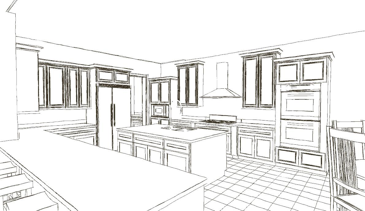 Line Drawing Kitchen : Custom design build d home